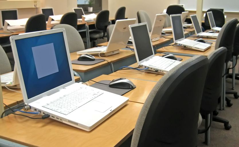 MacBooks in a computer lab