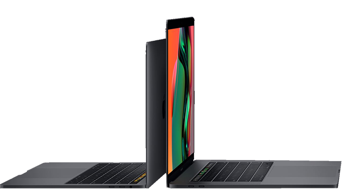 A 13-inch and a 15-inch MacBook Pro back-to-back