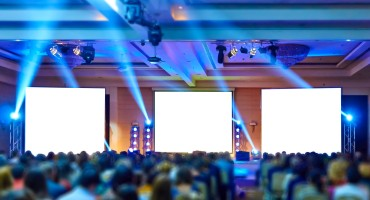 Conference with event lighting and staging