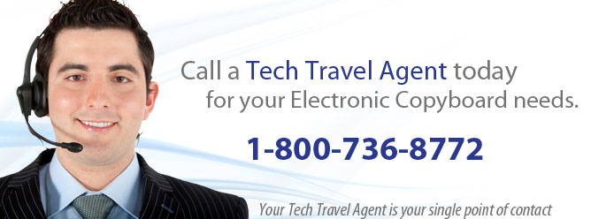 Call a Tech Travel Agent today for your electronic copyboard rental needs. 800-736-8772