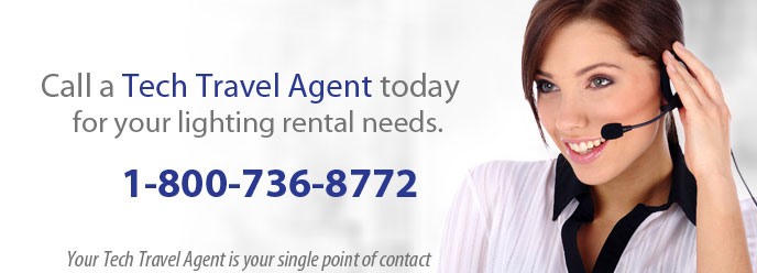 Lighting Rental - Call a Tech Travel Agent today for  your lighting rental needs.