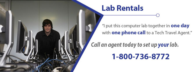 I put this computer lab together in one day with one phone call to a Tech Travel Agent. Call an agent today to set up your lab. 800-736-8772